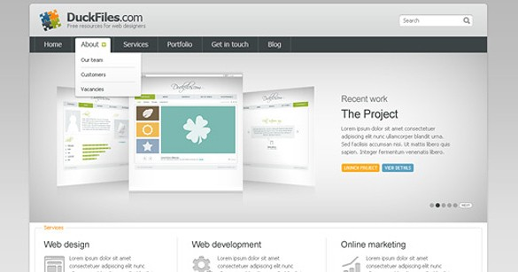 Clean Corporate Website Template Set PSD