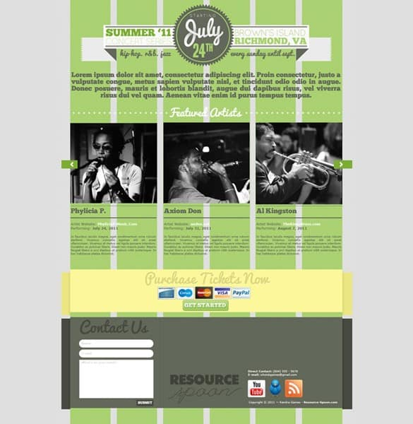 Attractive Events Website Template PSD
