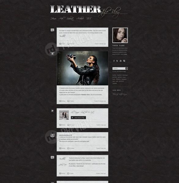 Dark Leather Blog Tumblr Theme Website PSD