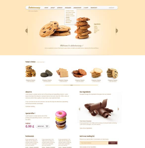 Delicioussary Cookies Website Template PSD