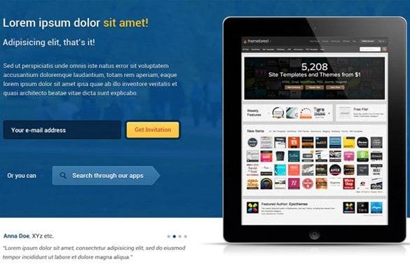 MeteorApp App Showcase Website Template PSD