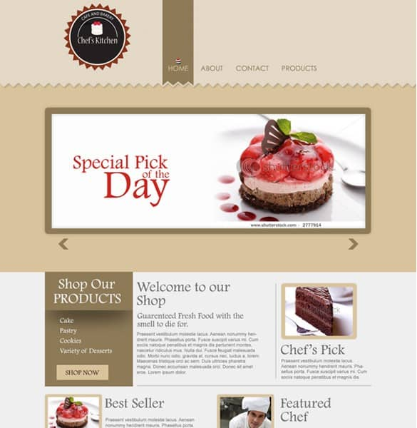 Delicious Bakery Website PSD Template