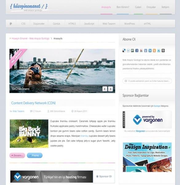 Clean Minimal Blog Style Website PSD