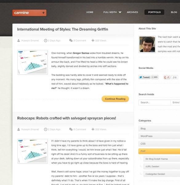 Carmine Portfolio & Blog PSD Website