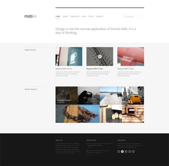 Minimal Portfolio Homepage Layout PSD