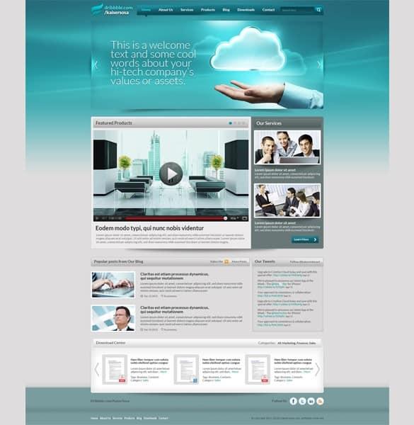 Clean Corporate Website Template PSD