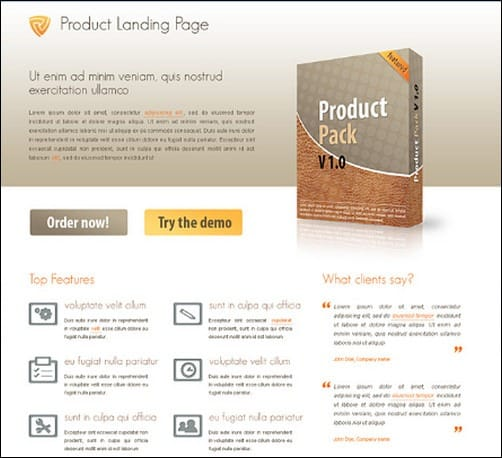 product landing page templates