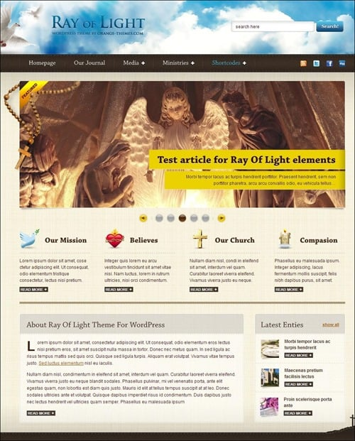 ray of light Church Website Templates