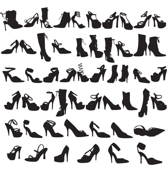 Fashion Ladies Shoes Silhouettes Vector