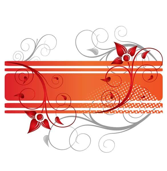 Orange Floral Border Vector Background