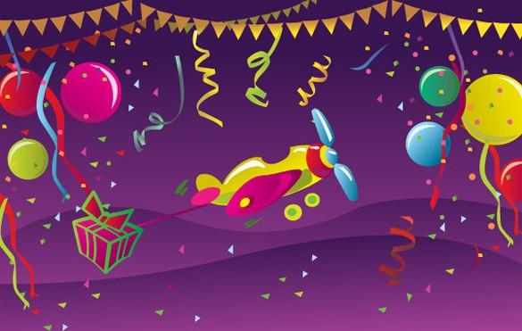 Festive Birthday Celebration Vector Card