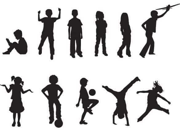 15 Playing Children Silhouette Vectors