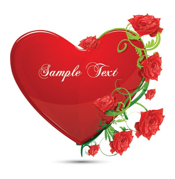 Glossy Red Heart and Roses Vector
