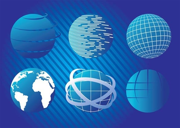 6 Blue Planet Globe Earth Vector Graphics