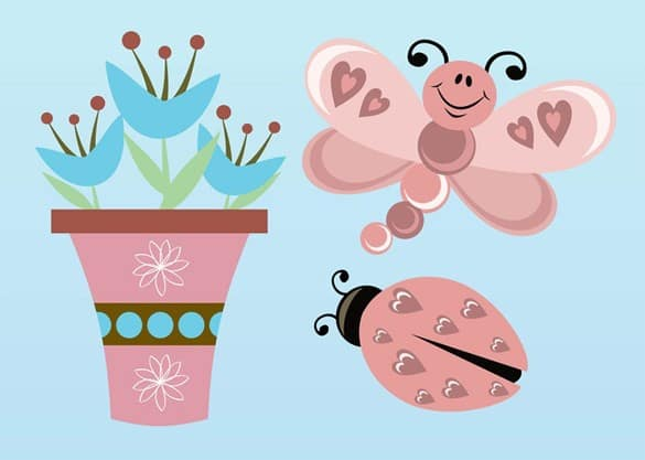 Delightful Ladybug Flowerpot Butterfly Vectors