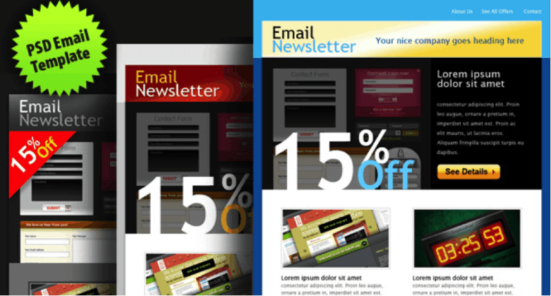 PSD email template in 3 colours