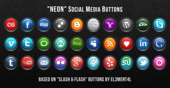 Neon Social Media Buttons