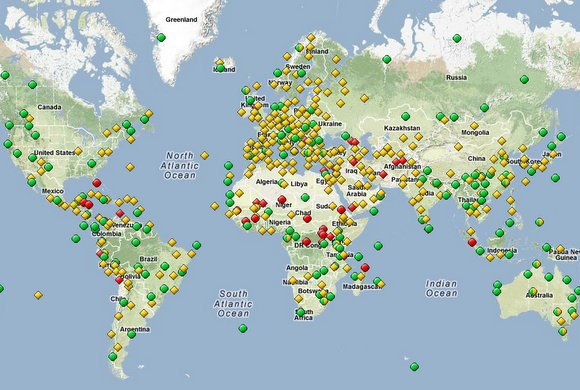 World Heritage Sites Yellow - Cultural site Green - Natural site Red - in danger