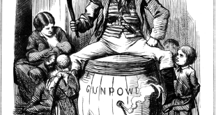 "The Irish Republican Brotherhood was one of the earliest organizations to use modern terrorist tactics. Pictured, ""The Fenian Guy Fawkes"" by John Tenniel (1867)"