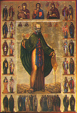 Medieval icon of Saint Sabbas the Sanctified.
