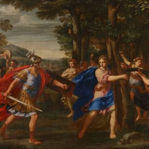 Rinaldo and Armida meet in the enchanted forest by Giacinto Gimignani