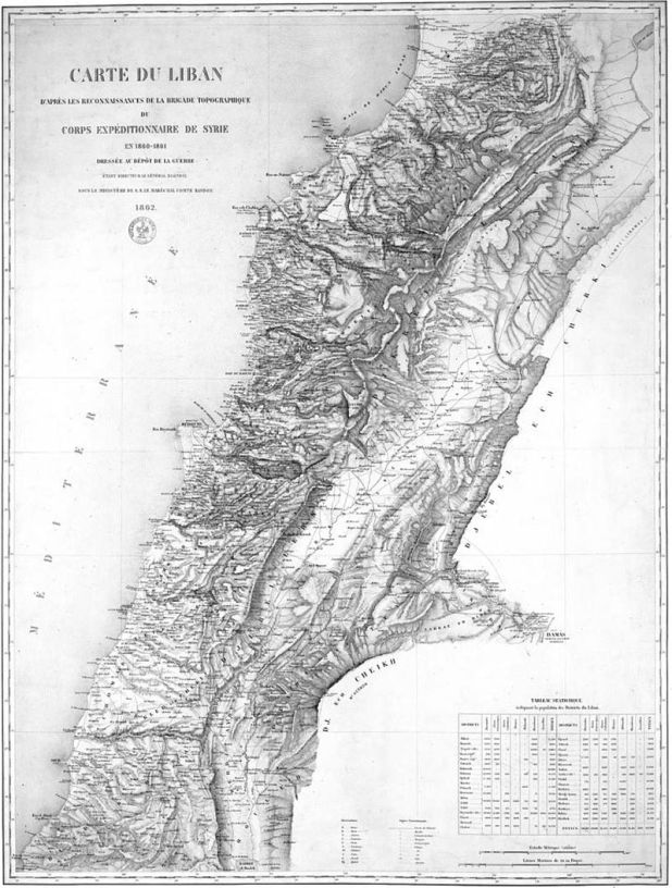 1862 map drawn by the French expedition of Beaufort d'Hautpoul,[28] later used as a template for the 1920 borders of Greater Lebanon.
