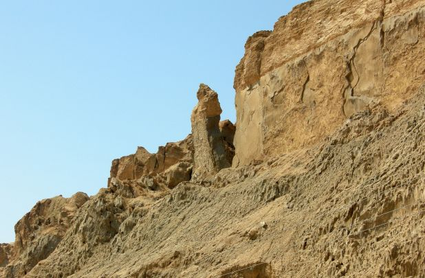 "The ""Lot's Wife"" pillar on Mount Sodom, Israel, made of halite"