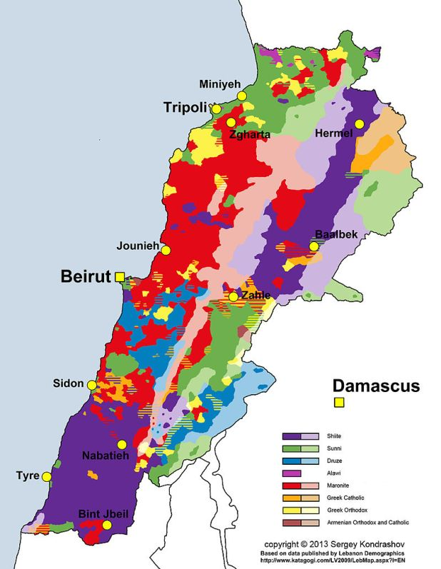 Distribution of main religious groups of Lebanon Credit: Sergey Kondrashov
