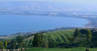 Kinnereth (Sea of Galilee), Israel - panorama of the southern end, February 5th, 2014 Photo: Zachi Evenor and User:MathKnight
