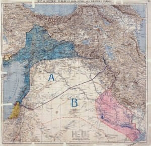 Map of Sykes–Picot Agreement showing Eastern Turkey in Asia, Syria and Western Persia, and areas of control and influence agreed between the British and the French. Royal Geographical Society, 1910-15. Signed by Mark Sykes and François Georges-Picot, 8 May 1916.