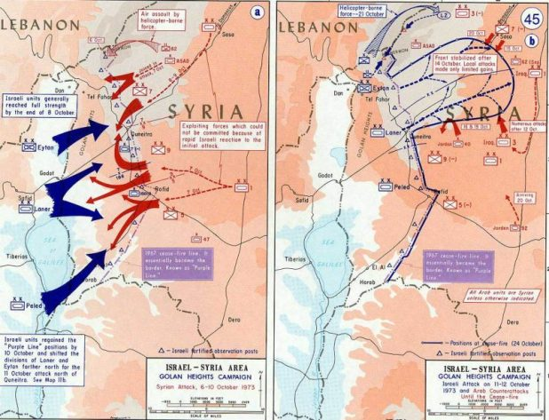 A map of the fighting on the Golan Heights
