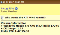 Windows Mobile 6 Treo 750 ROM leak