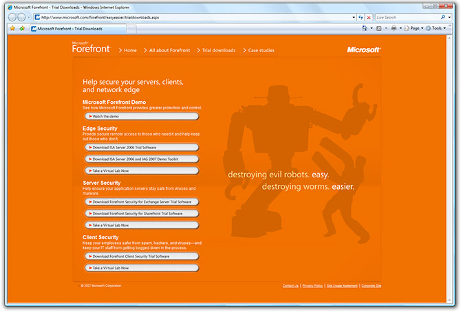 Microsoft Forefront website