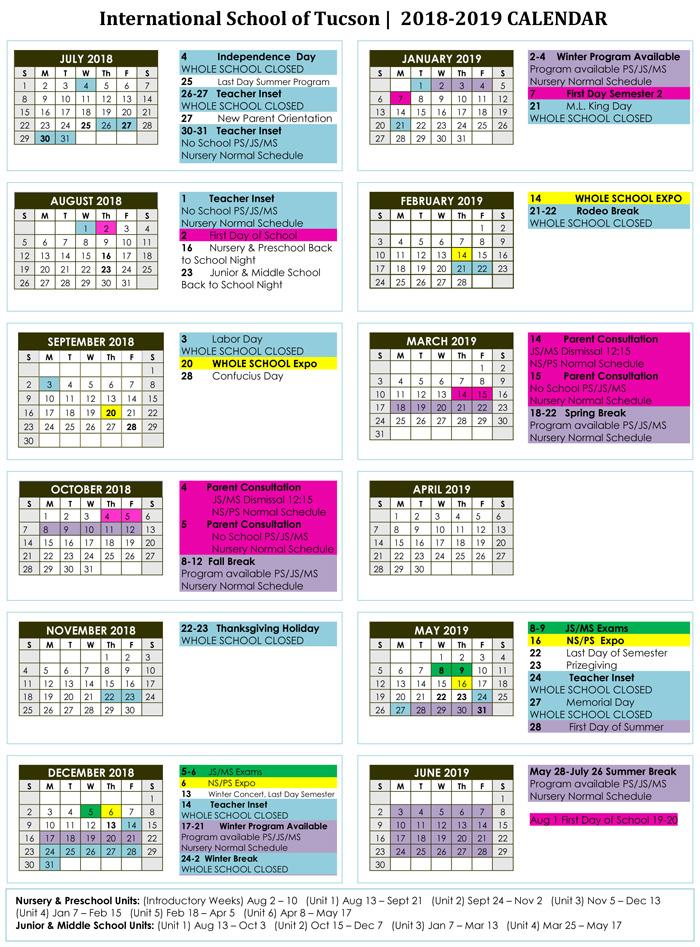 School Calendar \u2013 International school of Tucson