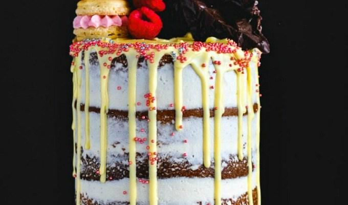 Passion Fruit Raspberry Naked Birthday Cake