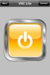 Ein Fingertipp auf den großen orangefarbenen Button startet die VNC-Verbindung