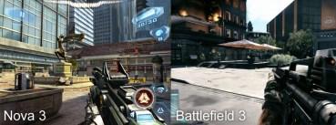 A destra Battlefield 3, a sinistre Nova 3
