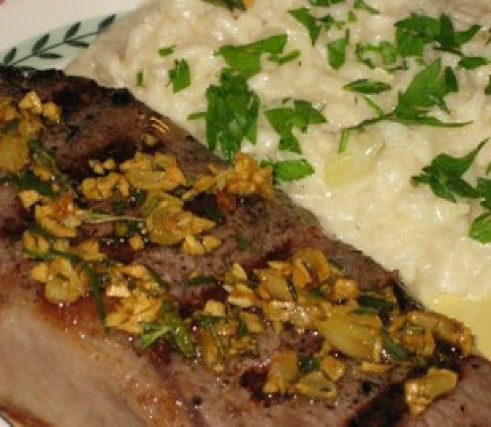 Rosmarino e' Aglio Bistecca con Risotto Quattro Formaggi (Rosemary and Garlic Steak with Four Cheese Risotto)