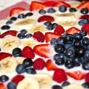 Memorial Day Sugar Cookie Crusted Red, White & Blue Fruit Pizza