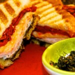 Smoked Turkey Panini with Roasted Red Peppers and Basil Pesto