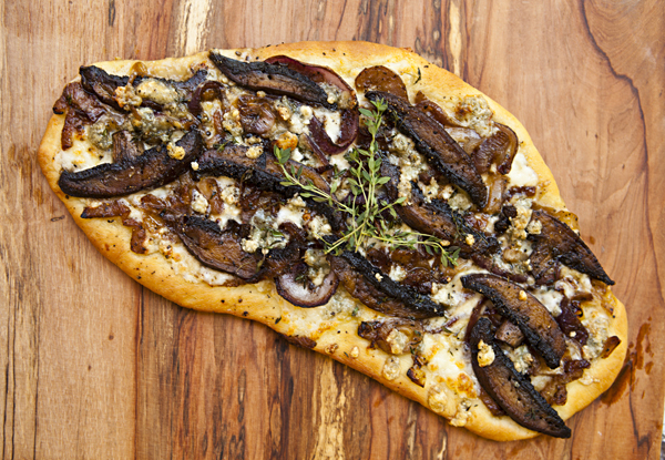 Flatbread With Caramelized Onions, Portobello Mushrooms, and
