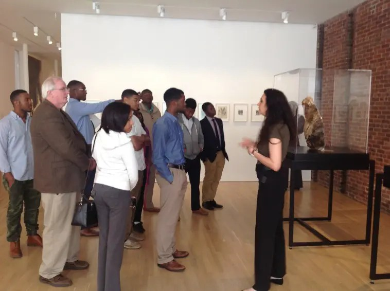 Ilaria Barzaghi, 2015 Spring Fellow, leading a tour of Medardo Rosso for Tuskegee University students