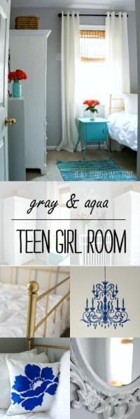 Teen Girl Bedroom in Gray and Aqua