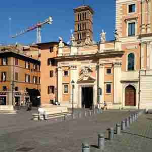Rome's Piazza San Silvestro on a hot summer day.
