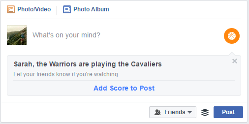 Facebook promoting the Warriors versus the Cavaliers