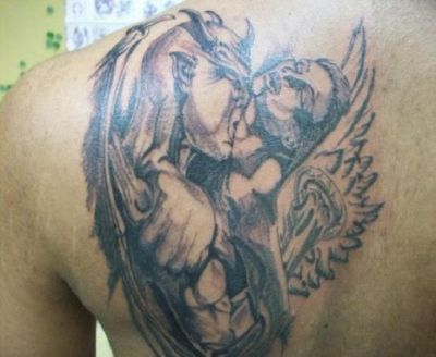 Cross Country Quotes Wallpaper Demon And Angel Tattoo On Left Shoulder Blade