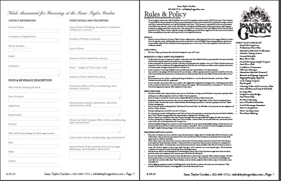 Rules and Policy - Isaac Taylor Garden, premier event venue