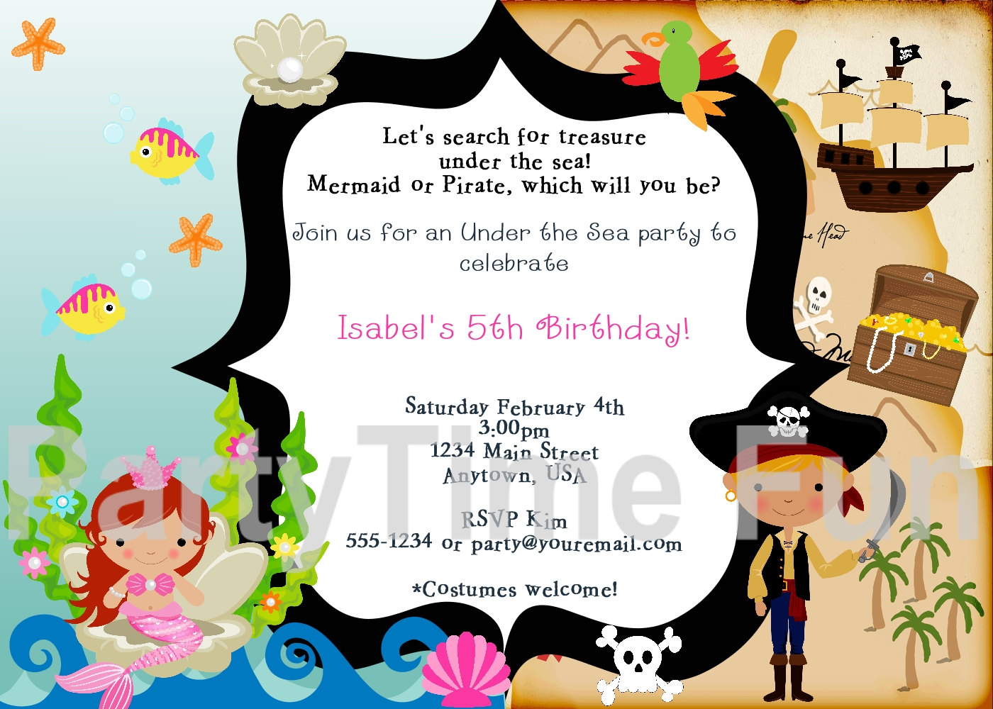 Cozy Mermaid And Pirate Birthday Party Invitations Mickey Mouse ...
