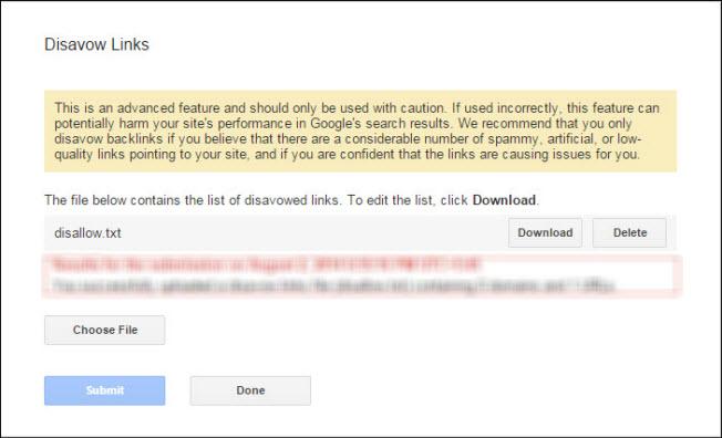 Uploading links to block spammy backlinks