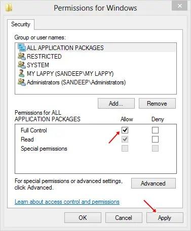 windows regisrty permission